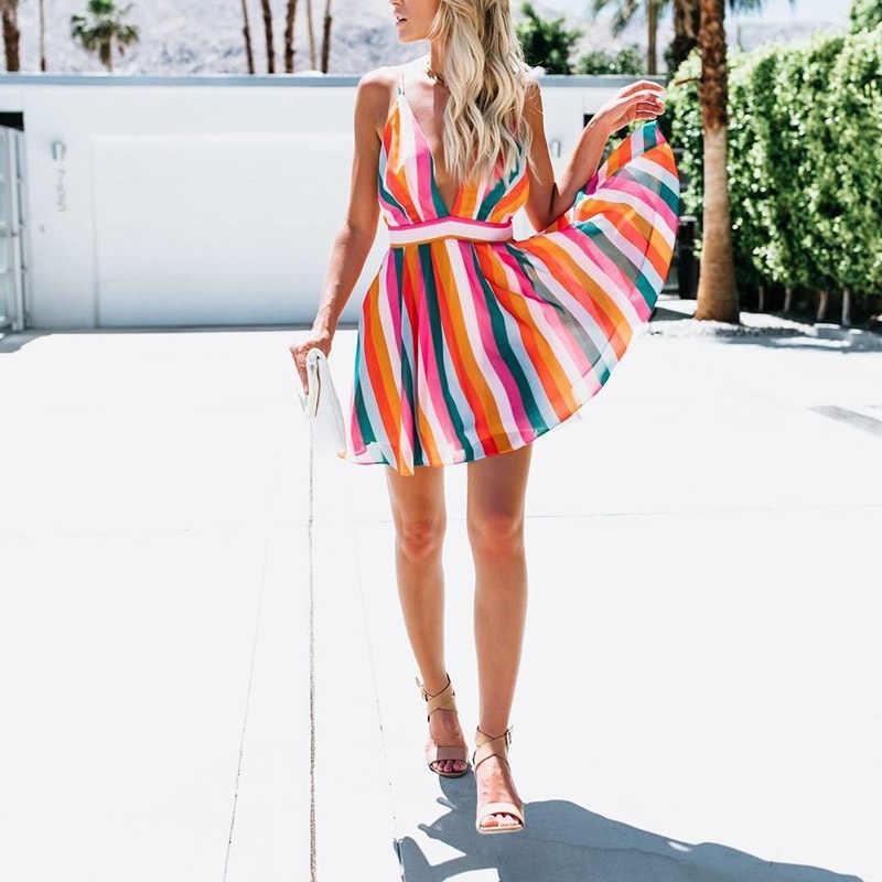 2019 여성 boho 미니 드레스 딥 브이 넥 칵테일 파티 민소매 섹시한 우아한 숙녀 의상 femme 의류 여름 해변 sundress