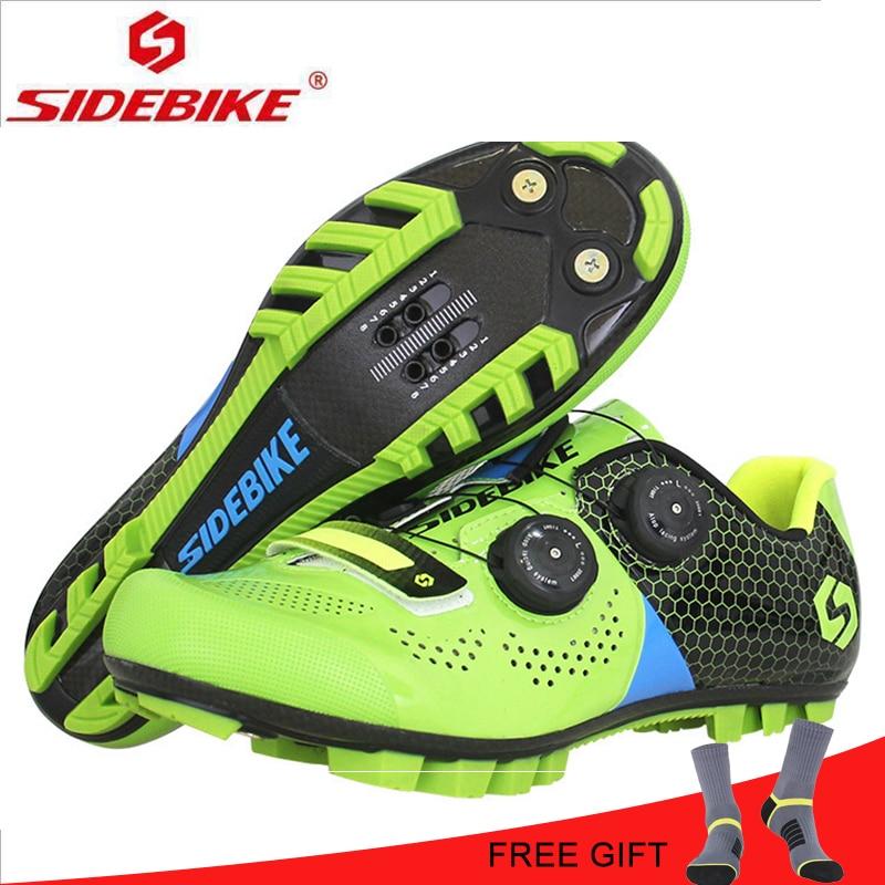 SIDEBIKE In Fibra di Carbonio Suola Luce Traspirante Mountain Ciclismo Scarpe Scarpe di Sport di Guida Su Strada di Blocco Scarpe Scarpe Da Ciclismo Scarpe Da Uomo Scarpe MTB