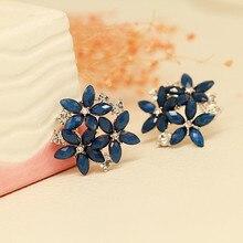 Серьги в форме цветов, 1 пара, циркон, кристалл, цветные маленькие свежие цветы, циркон, мода, продукт
