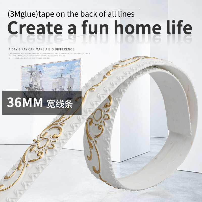 European PVC Decorative Line Living Room TV Background Wall Decoration Strip Full Body Mirror Side Strip Plaster Celing Line