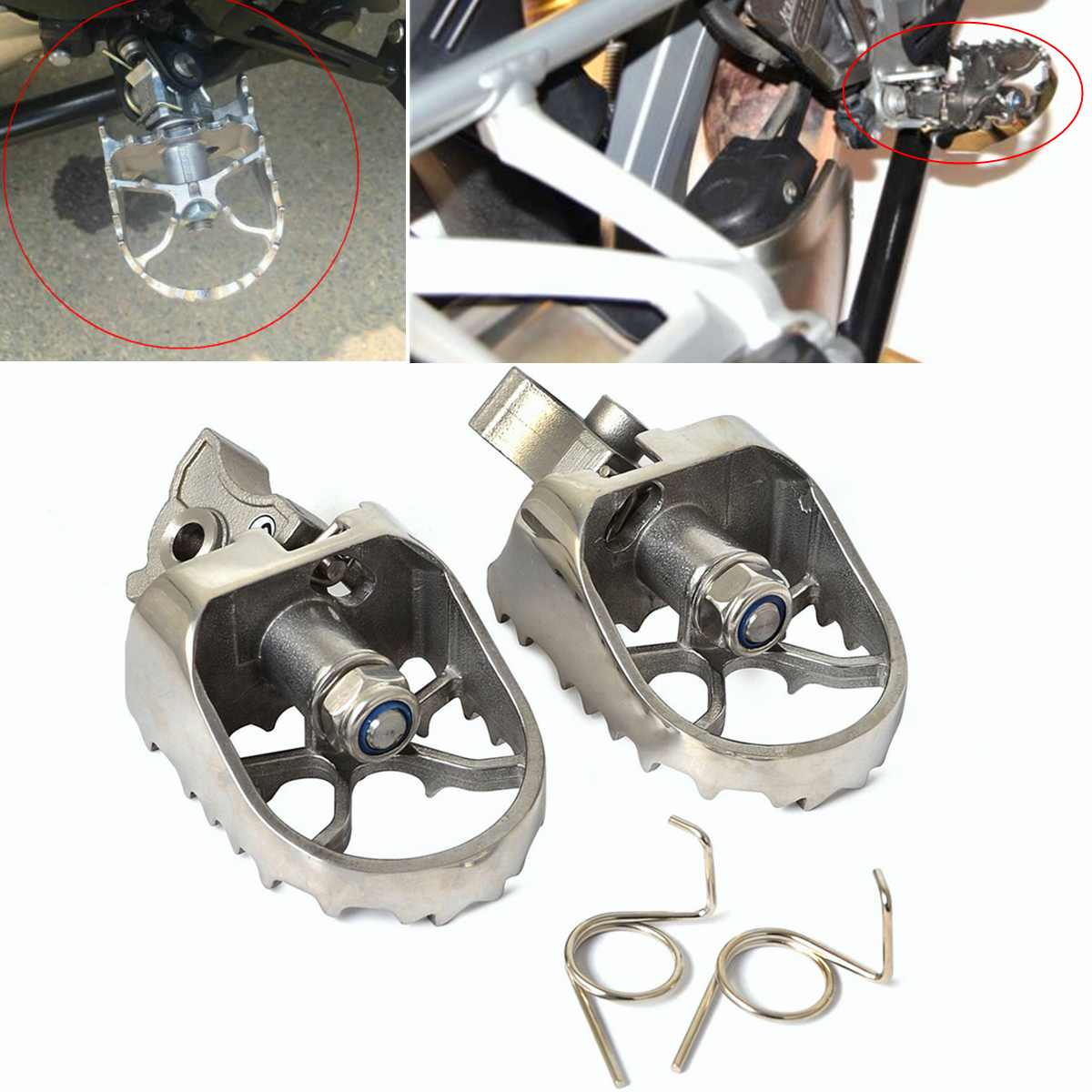 2pcs Motorcycle Front Footpegs Foot Rest Peg Fit for BMW R1200GS ADV 00 12 F650GS G650GS