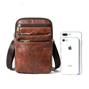 Image 4 - Retro Erkek askılı çanta Hakiki Deri Küçük klasik postacı çantaları Erkekler Için Deri Çanta Erkek omuzdan askili çanta Lüks Tasarımcı