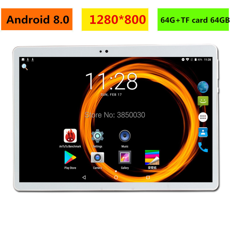 Free shipping 10 inch 3G 4G LTE Android 8.0 Tablet PC <font><b>MTK8752</b></font> Octa Core 4GB RAM 128GB ROM GPS 1280*800 IPS Tablet 10