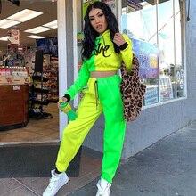 Winter Women Matching Fluorescent Yellow Green Tracksuits Long Sleeves Hooded Crop Top