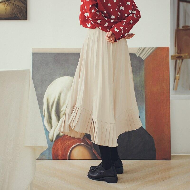 Falda Plisada Mujeres Albaricoque Dobladillo fósforo 2019 Es Verano La Nueva Irregular Suelta E357 Las Moda Todo As Shown De Primavera Ixqwqn0Cv