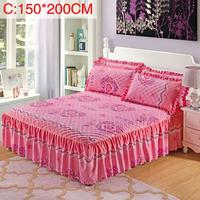 3Pcs/Set 1.5m/1.8m Pillow Cover Queen size Chandler Bed Skirt Floral Print Quilted Thickened Bedspread Bed Skirt Fitted Sheet