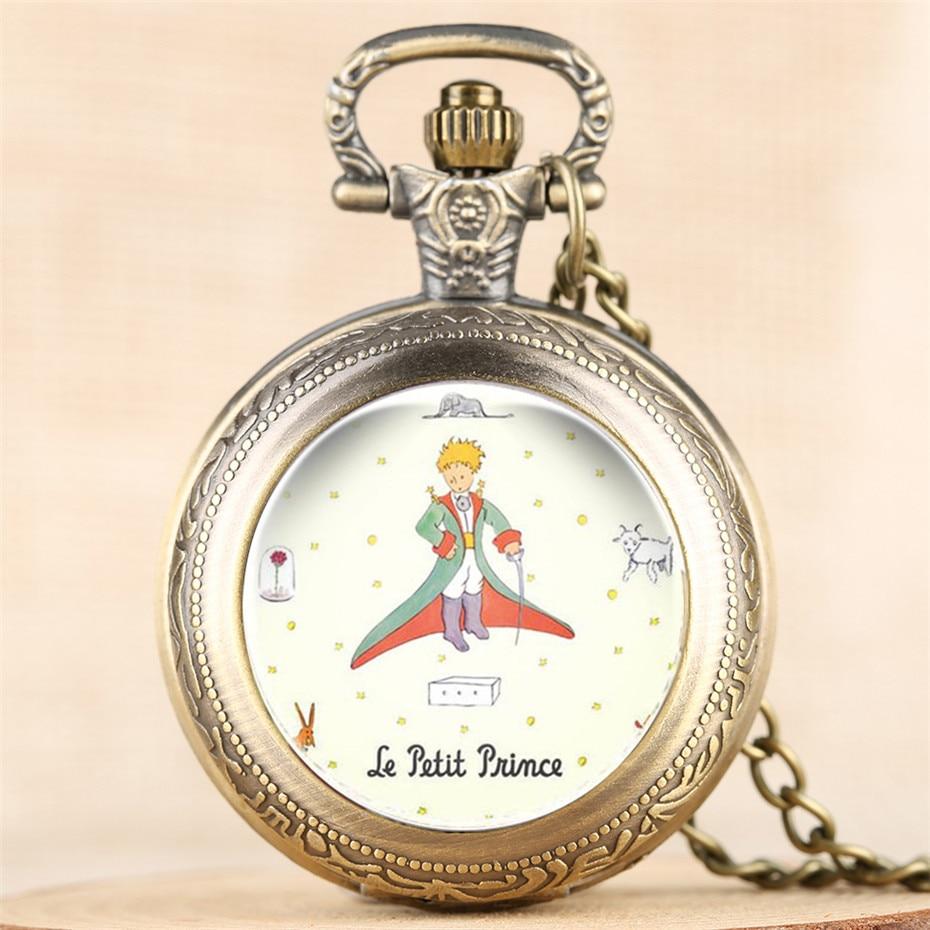 Hot Sale The Little Prince Theme Quartz Pocket Watch Vintage Cute Children Pendant Clock Analog Display With 80cm Necklace Chain