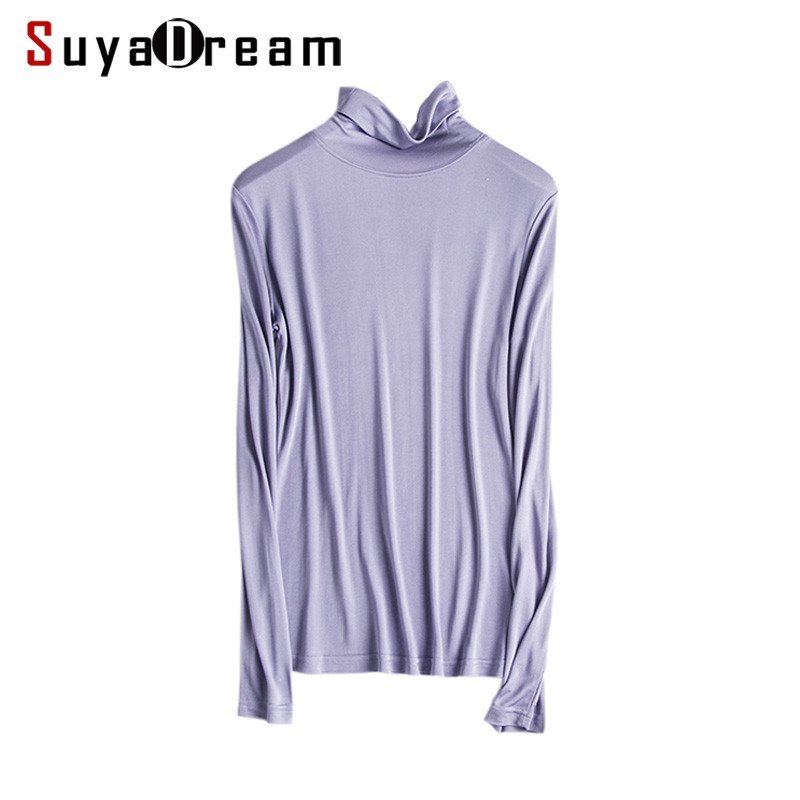 Women T Shirt 100%Real Silk Basic Turtleneck Long Sleeve Bottoming-shirt 2018 FALL WINTER Primer Shirt Plus Size Spandex Top