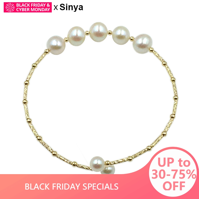 Sinya Natural pearls 18k gold tube Bangles bracelet for women girl Mum girl lover length about 17.5cm pearl diameter 7-8cm