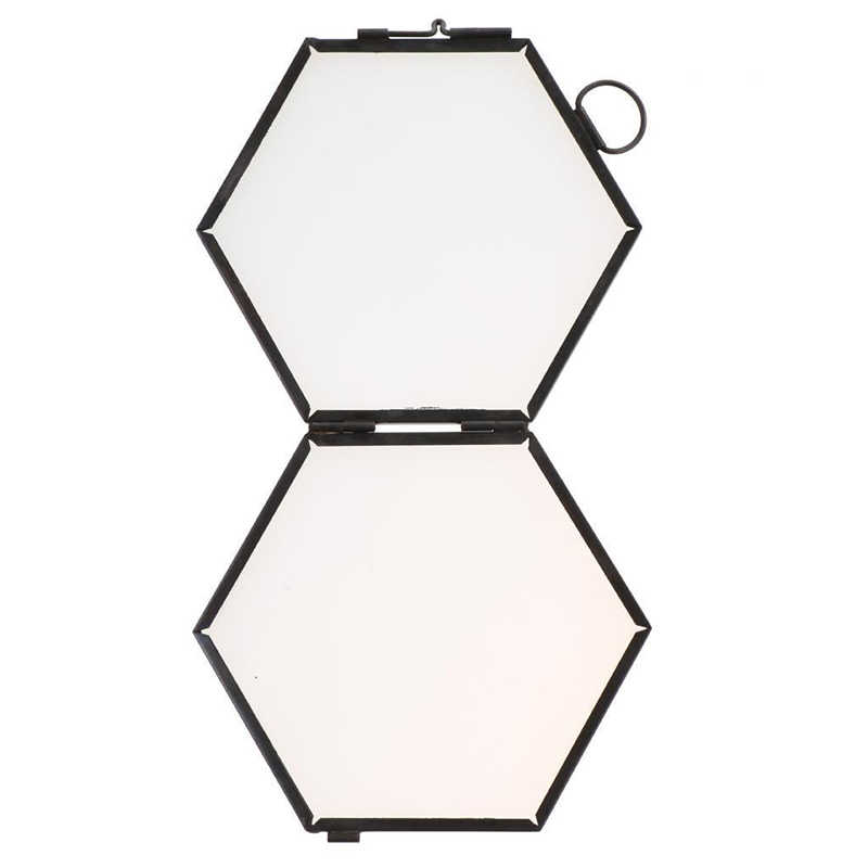 5 Pieces Nordic Hanging Photo Frame Hexagon Metal /& Glass Poster Frame Black