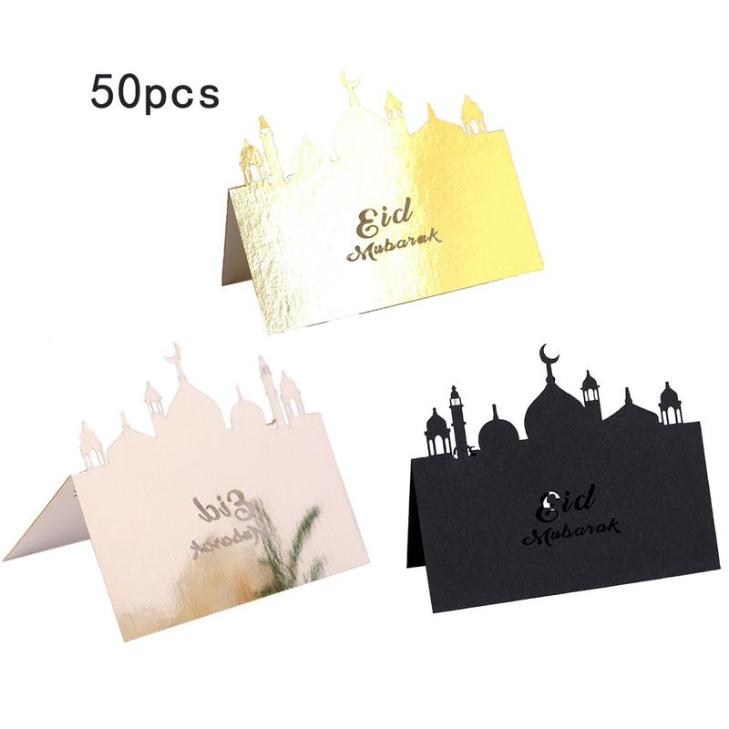 50Pcs/Lot Creative Gold Silver Laser Cut Eid Mubarak Place Card Invitation Card Table Card Gifts Party Supply image
