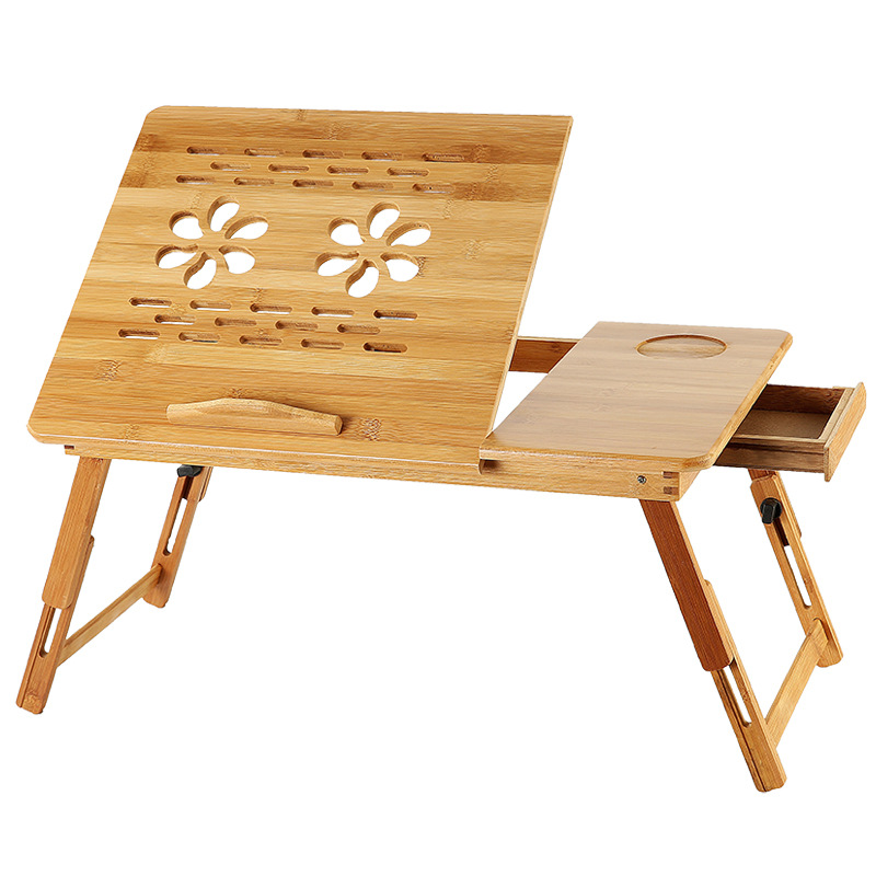 Adjustable Laptop Desk With USB Cooling Fan Bamboo Foldable Notebook Stands Holder Sofa Bed Office Wooden Laptop Table HW12
