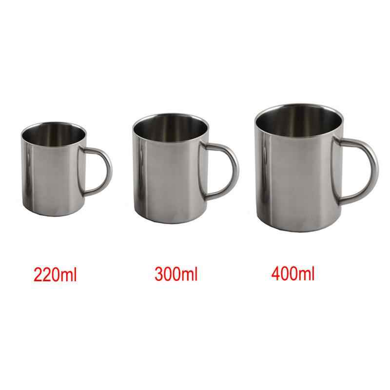 1pcs החדש 220ml 300ml 400ml נירוסטה נייד ספל כוס נסיעות קיר כפול כוס קפה ספל תה כוס
