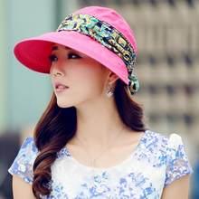 2019 caliente las mujeres verano anti-UV sombrero de sol cubierta de playa  plegable protector 59a05271a72