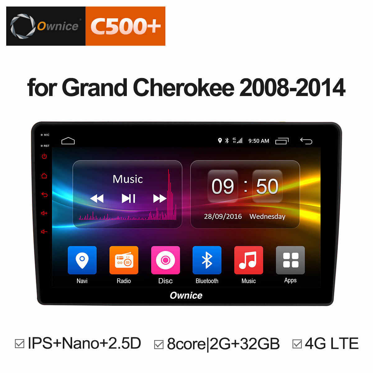 "Ownice C500 + G10 10.1 ""1024*600 2.5D IPS Android 8.1 8 Core Auto Stereo GPS Navigatie Radio voor Jeep Grand Cherokee 2008-2014"