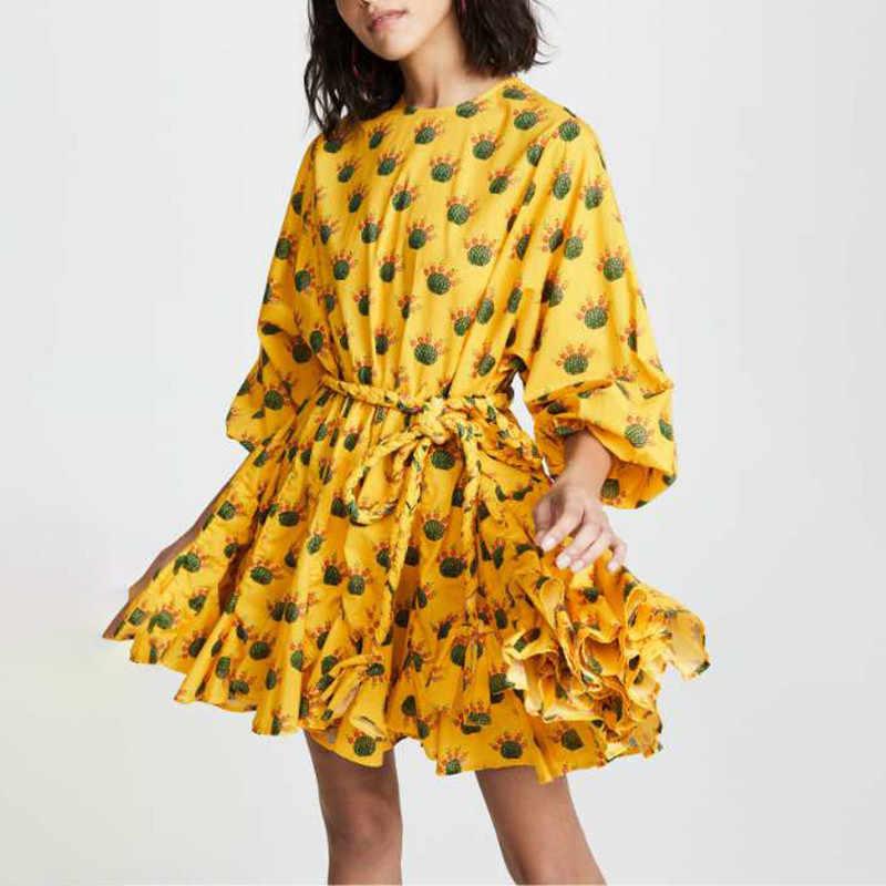 TWOTWINSTYLE, весеннее платье с цветочным принтом для женщин, с круглым вырезом, с длинным рукавом, с высокой талией, бандажные женские платья, Повседневная мода 2019, Новинка