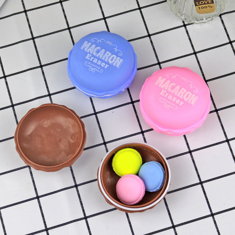 Mini Macaron Erasers Novelty Biscuits Style Rubber Eraser Kawaii Correction Tools For Girls Gift School Supplies Cute Stationery