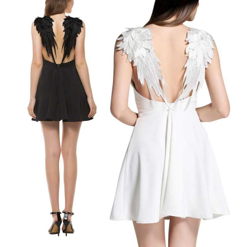 Casual Slim Sexy Backless Beach Dresses Summer Black White Lace Angel Wings Dress Women Spaghetti Strap Vestidos L2