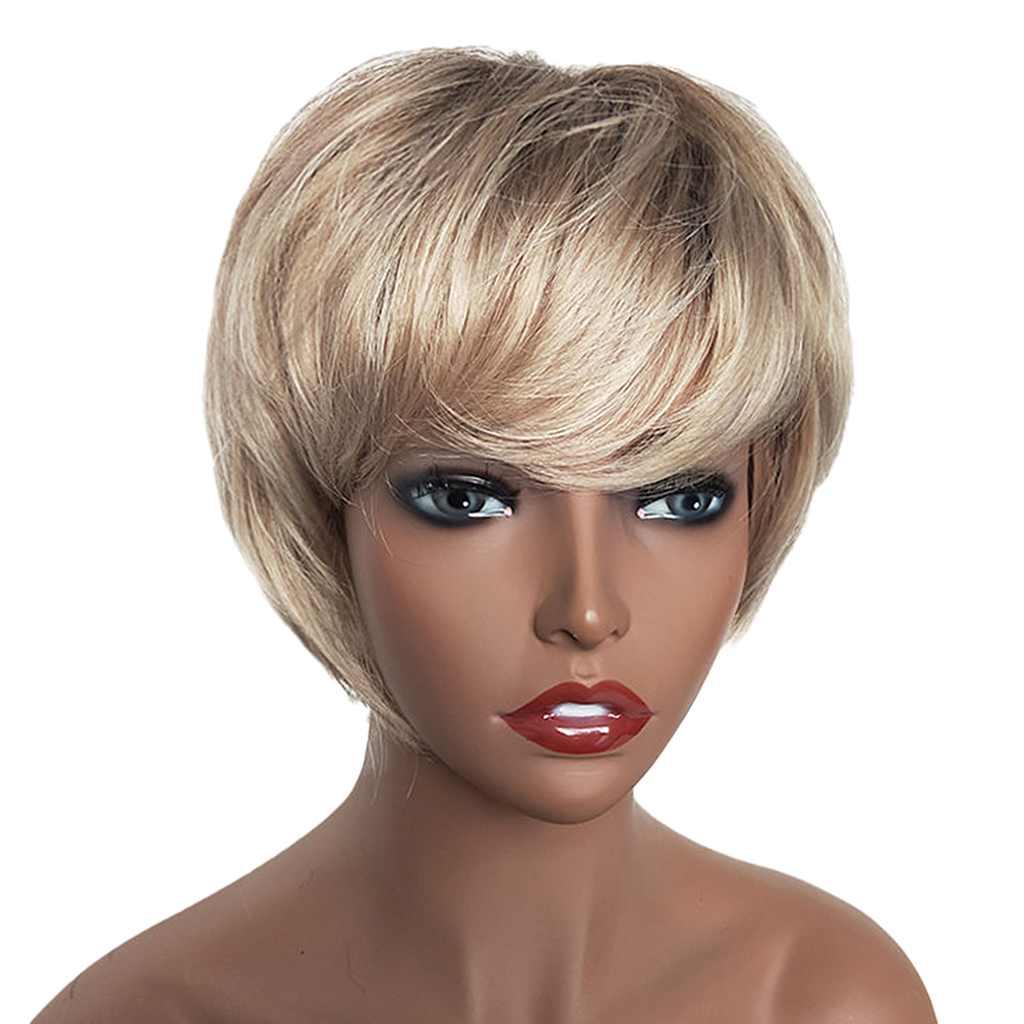 Natural Short Bob Wigs Human Hair Pixie Cut Wig for Women w/ Bangs 8 inch Gold Brown стоимость