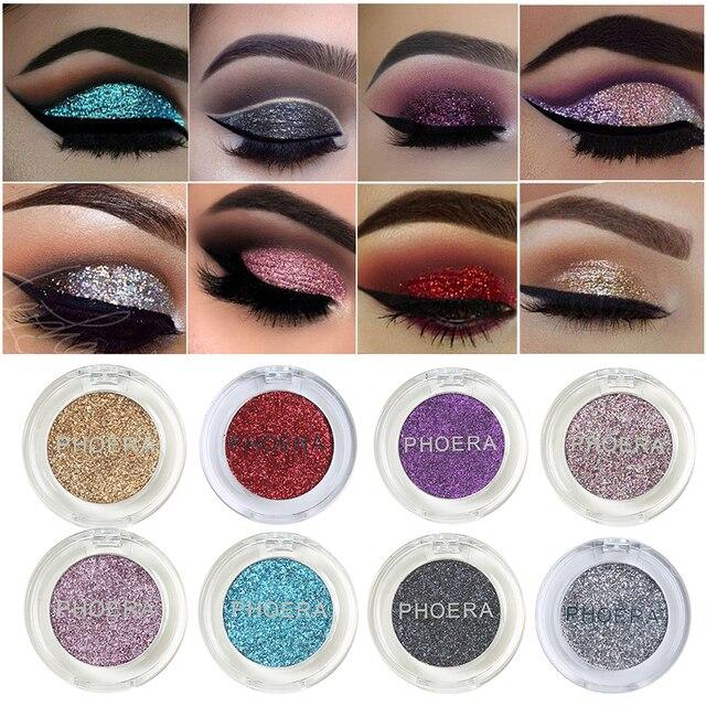 PHOERA brillo ojo brillo sombra de ojos maquillaje duradera maquillaje cosméticos paleta de sombra tinte 8 Color TSLM1