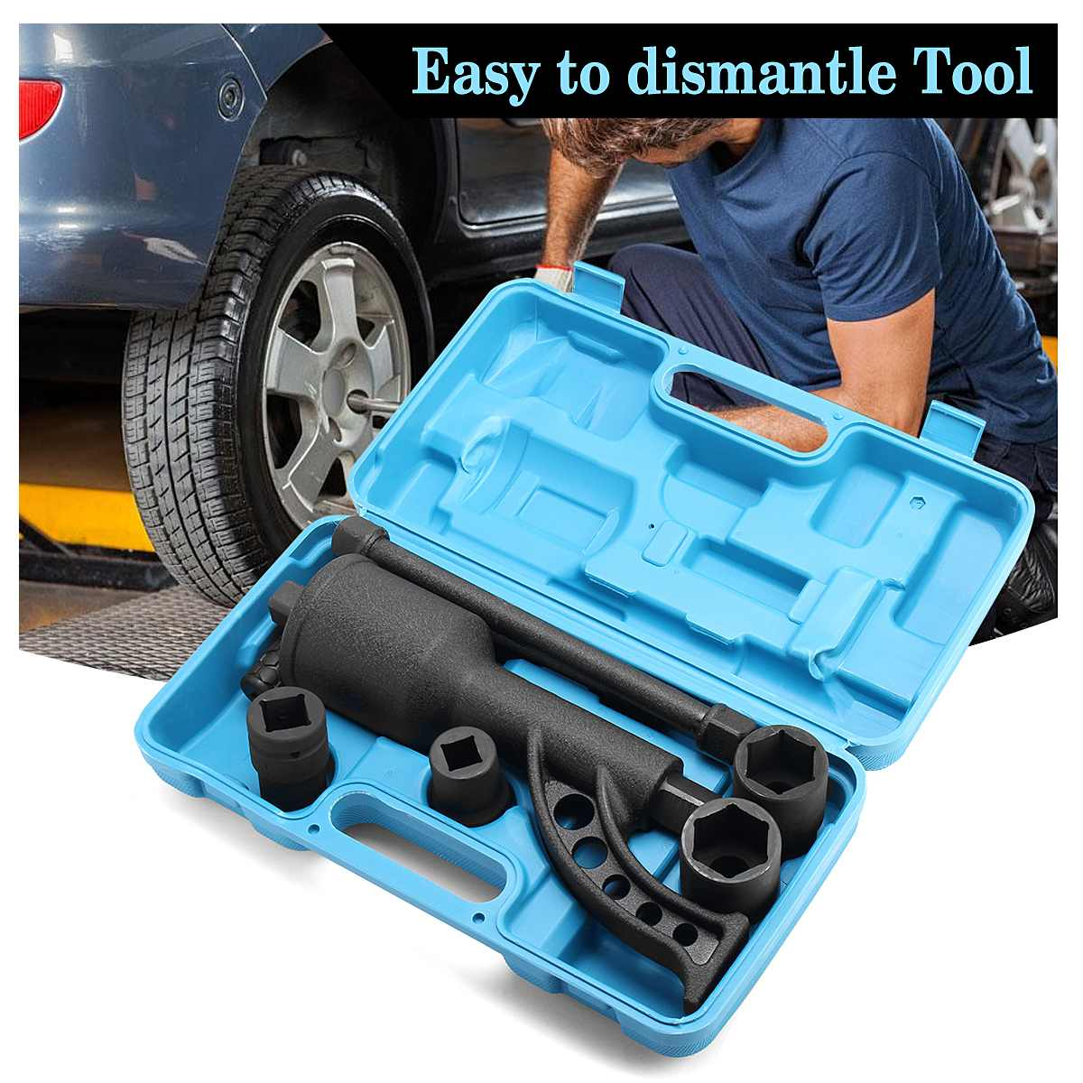 7PCS Torque Multiplier Wrench Lug Nut Lugnuts Remover Labor Saving Socket Car Wash Maintenance Engine Care Tire Tools Kit