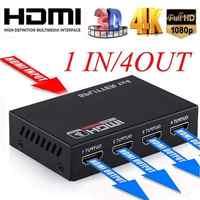 BEESCLOVER Full HD HDMI Splitter 4 puertos Hub repetidor amplificador v1.4 3D 1080p 1 en 4 salida HDMI Splitter DC 5 V/2A 5 voltios p-p r19
