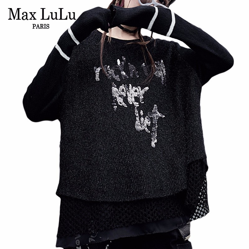 68af8eba8d Max LuLu Korean Style Mesh Knitted Clothes Ladies 3d Printed Jumper Womens  Ugly Christmas Sweater Harajuku Woman Winter Pullover