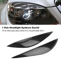 Car Real Carbon Fiber Headlight Eyebrow Eyelid Trim for Mercedes Benz W204 Pre Facelift 2008 2009 2010 11