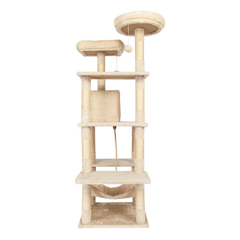 Augkun 60 cat tree tower com um condomínio duas plataformas sisal arranhando posts e rede pet house furniture cat torre de atividade - 3