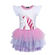 AmzBarley Little Girls Rainbow Unicorn Dress Toddler Short Sleeve Colourful Layered Tutu Dress Wedding Party outfits clothes цена и фото