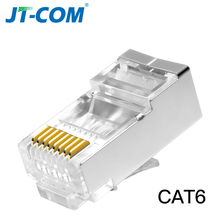 CAT6 RJ45 разъем 8P8C модульный разъем для компьютера UTP Ethernet кабель, позолоченный гигабитный сетевой обжимной экранированный Кристалл головка