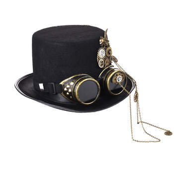 Gothic Unisex Skull Wings Goggles Top Hat Vintage Steampunk Gear Chains Party Black Hat Punk Gothic Hats Accessories 1
