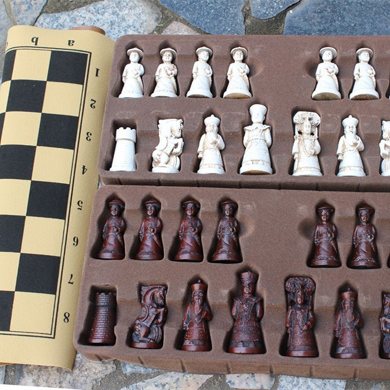 New Antique Chess Resin Large Chess Figures Shape Leather Chess Board Game Pieces Christmas Birthday Parent-child Gift Easytoday