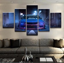 Canvas Paintings Wall Art For Living Room Home Decor 5 Pieces Blue Car Mitsubishi Lancer Evolution Sport Pictures Framework