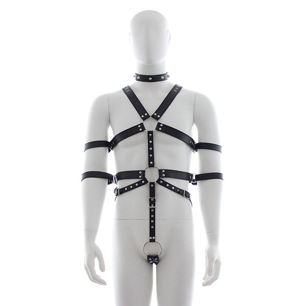 Male SM Harness Restraint Binder Leather Binding Bondage Costume Sexy Bodysuit For Men Slave Play Adult Flirt BDSM Games