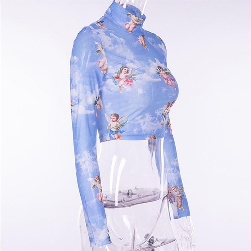 Sexy Women Transparent Sheer Long Sleeve Mesh O-Neck Blouse Tops Shirt Club Wear see through angel shirt