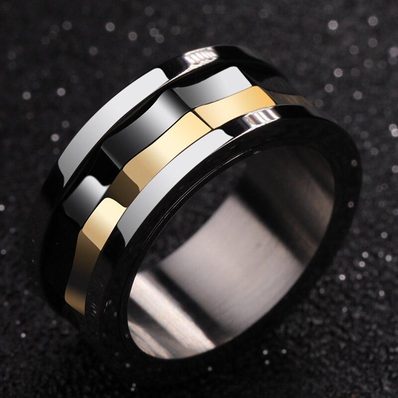 Anneau pour hommes, anneaux en carbure de tungstène avec des couleurs noires et dorées - 2