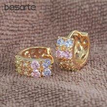 6 пар оптовая продажа золотые серьги кольца с кристаллами для