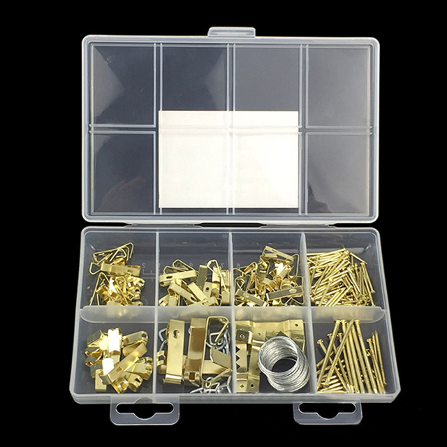 200PCS/Set Photo Picture Frame Hanging Kit with Wire, Hooks, Nails and Hardware Hanging Assortment Kit for Wall Mounting