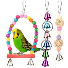 5pcsSet Colorful Wooden Metal Pet Bird Swing Toy Bells Parrot Cage Hammock Hanging Toys(China)