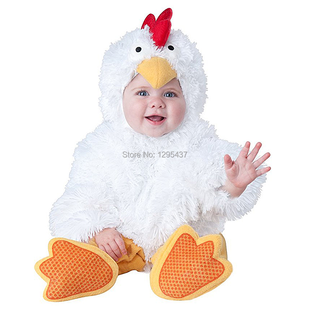 New Infant Toddler Baby Girls Boys White Chicken Costume Halloween Dress up Cosplay Outfits Purim Holiday Costume