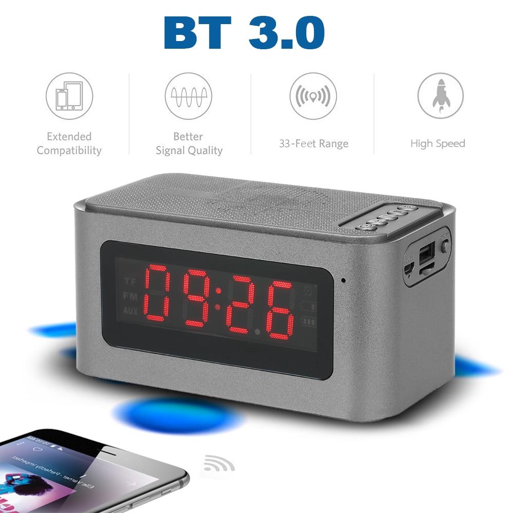Electronic Digital LED Alarm Clock Bluetooth Speaker FM Radio Mp3 Player TF Car