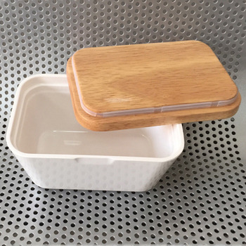250/500ml Butter Box Dish With Lid Holder Storage Container Wood Melamine Serving Box Hotel Kitchen Tools Dinnerware Tableware