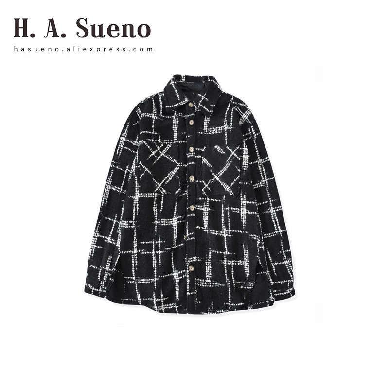 H. A. Sueno модные высокие уличные хип-хоп негабаритные мужские рубашки толстые клетчатые черные длинные рубашки для мужчин ins стиль свободный крой пальто/5
