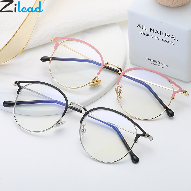 Zilead Anti Blue Light Round Cat Eyes Eyeglasse Frame Women&Men Computer Eye Protection Eyewear Optical Spectacle Glasses Unisex