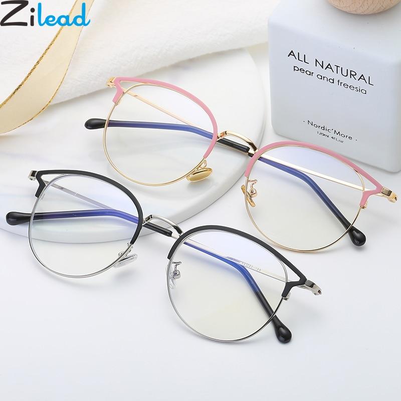 Zilead Anti Blue Light Round Cat Eyes Eyeglasse Frame Women&Men Computer Eye Protection Eyewear Optical Spectacle Glasses Unisex