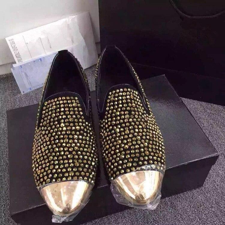 as Mens Tamanho Shoes Couro Vaca Cristal Preto Condução Casamento Pics Ouro Black 46 Em Mocassim Hombre Rhinestone Genuíno 1 Deslizamento Sapatos Metal De Toe Vestido tzBwHHqPC
