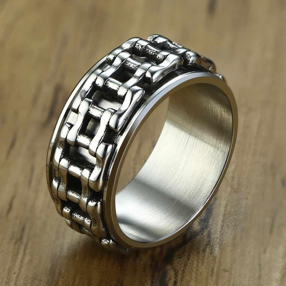 9,5 мм цепь мотоцикла звено Спиннер из нержавеющей стали байкерское кольцо для мужчин снятие стресса велосипед группа мужские ювелирные изделия