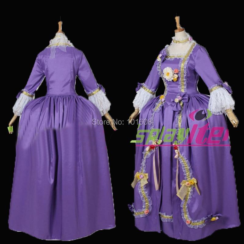 Tailored!Retro Purple Satin Civil War Rococo Colonial Georgian Marie Antoinette Historical Reenactment Theatre dress HL-546