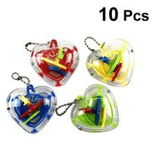 10pcs 3D Maze Ball Magic Heart Shape Intelligence Toy Beads Maze Puzzle Game for Children Kids Toddler(China)